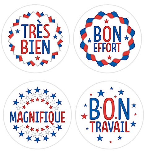 French Reward Stickers - 144 30mm Stickers - 4 Different Designs