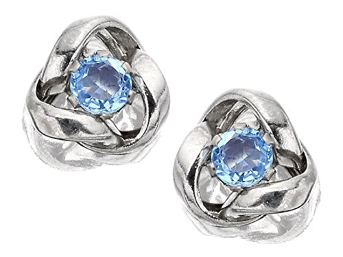 9ct White Gold Blue Topaz Knot Earrings - 7mm from F.Hinds