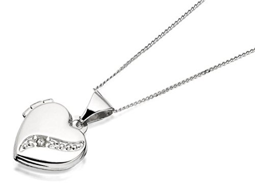 F.Hinds 9ct White Gold Diamond Heart Locket And Chain Necklace Pendant Photo New from F.Hinds