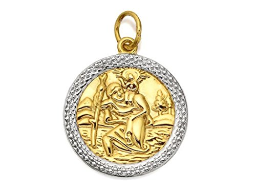 F.Hinds Mens Jewellery 9ct Two Colour Gold St Christopher Medallion - 18mm from F.Hinds