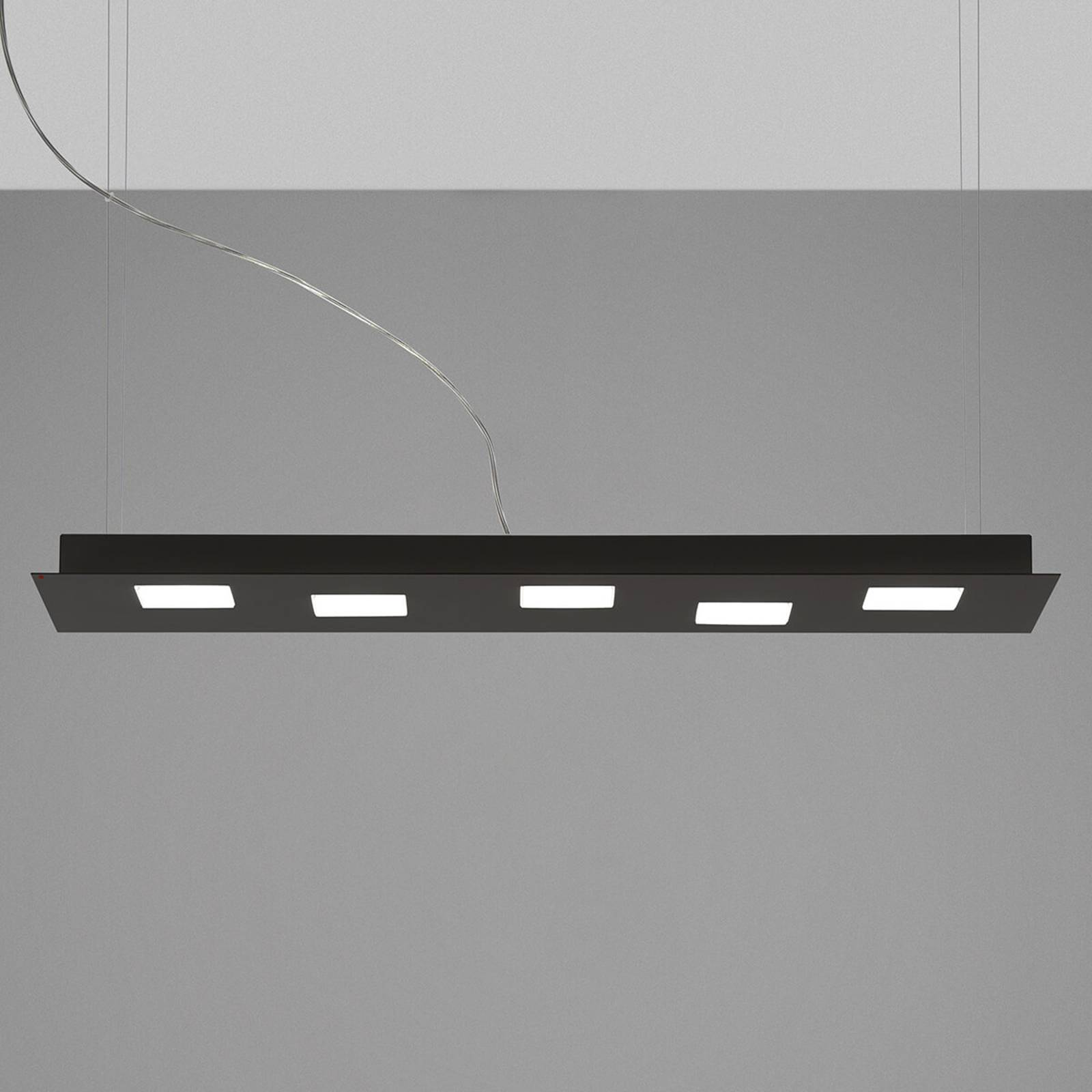 Elongated Quarter LED hanging lamp in black from FABBIAN