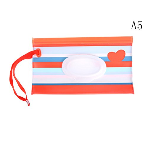 Baby Wet Wipe Pouch Travel Wipes Case Reusable Refillable Wet Wipe Bag Cases Portable Travel Wipes Dispenser Wipe Pouches for Baby, Set of 2 Pieces from FADACAI
