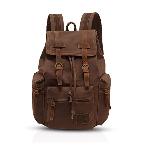 FANDARE Backpack Hiking Daypacks Computers Laptop Rucksack Satchel Bookbag Mountaineering Multi-function Vintage Canvas Bag Women and Men Brown(Size: Large from FANDARE