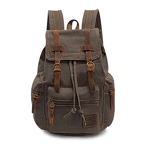FANDARE Backpack Hiking Daypacks Computers Laptop Rucksack Satchel Bookbag Mountaineering Multi-function Vintage Canvas Bag Women and Men Green(Size: Large) from FANDARE