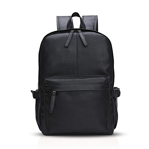 FANDARE Simple Backpack College Student Travel Party Business Rucksack 14 Inch Laptop Rucksack Men/Women Waterproof PU Black from FANDARE