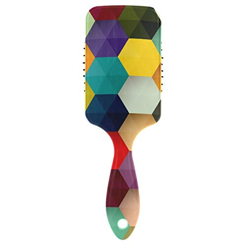 FANTAZIO Abstract Colorful Hexagon Honeycomb Hair Brush for Women Men Kids Damaged Curly Wavy Frizzy Fine Hair Massage Brain Acupoints from FANTAZIO