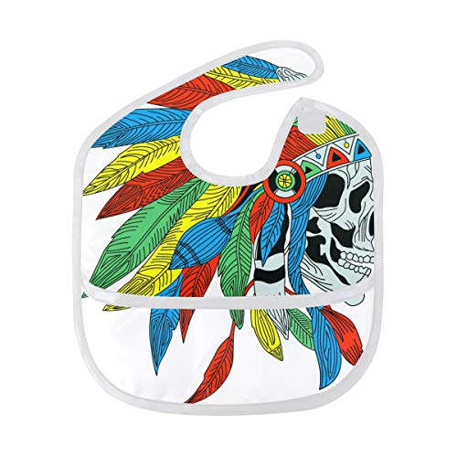 FANTAZIO Ancient Indian with Colorful Feathers Waterproof Baby Bib Infant Washable Stain and Odor Resistant, Suit for 6-24 Months from FANTAZIO