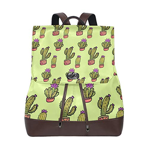 FANTAZIO Backpacks Adorable Cactus School bag leather Daypack from FANTAZIO