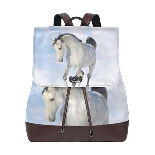 FANTAZIO Backpacks Beautiful Shy Horse School bag leather Daypack from FANTAZIO