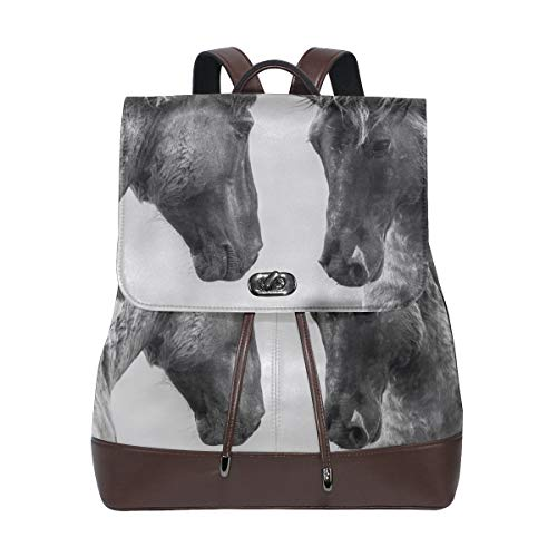 FANTAZIO Backpacks Couple Horses School bag leather Daypack from FANTAZIO