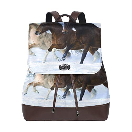 FANTAZIO Backpacks Cute Pony School bag leather Daypack from FANTAZIO