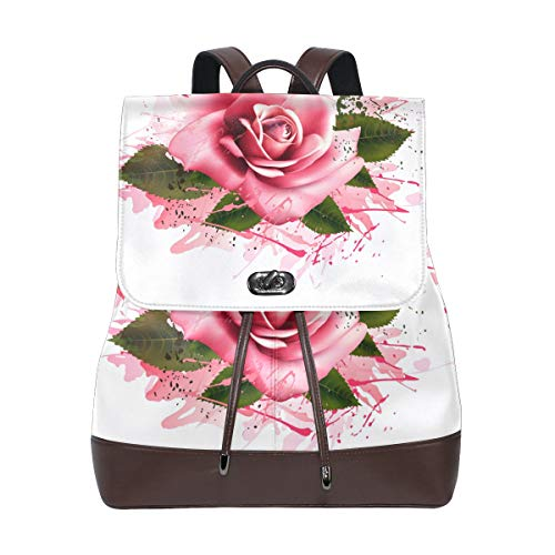 FANTAZIO Backpacks Fantastic Pink Rose School bag leather Daypack from FANTAZIO
