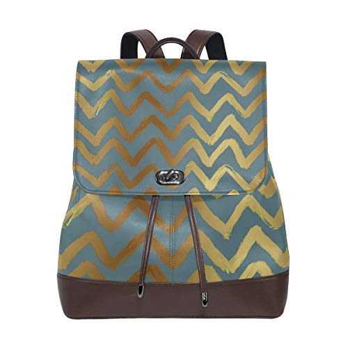 FANTAZIO Backpacks Gold Wave School bag leather Daypack from FANTAZIO