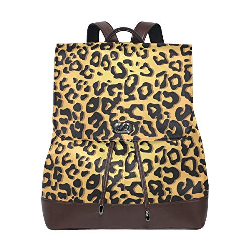 FANTAZIO Backpacks Graceful Leopard Print School bag leather Daypack from FANTAZIO