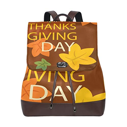 FANTAZIO Backpacks Happy Thanksgiving Day School bag leather Daypack from FANTAZIO