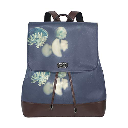 FANTAZIO Backpacks Light Blue Jellyfish School bag leather Daypack from FANTAZIO