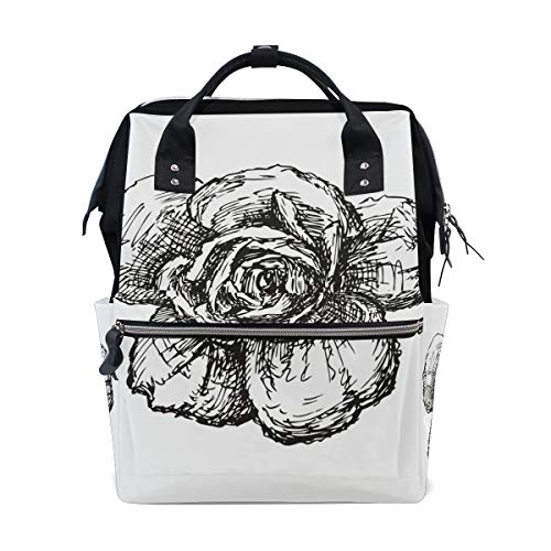 FANTAZIO Backpacks Rose Sketch School bag canvas Daypack from FANTAZIO