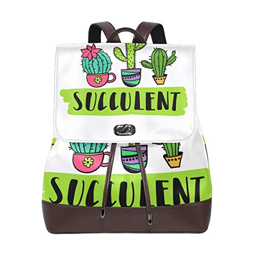 FANTAZIO Backpacks Succulent Cactus School bag leather Daypack from FANTAZIO