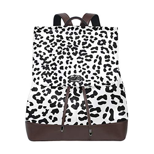 FANTAZIO Backpacks Young Design Leopard Print School bag leather Daypack from FANTAZIO