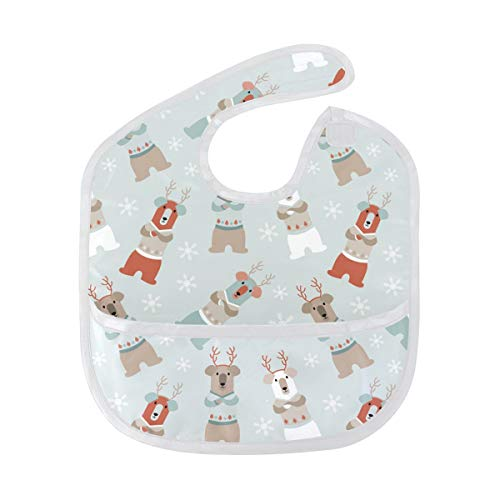 FANTAZIO Cartoon Bear Snowflake Background Waterproof Baby Bib Infant Washable Stain and Odor Resistant, Suit for 6-24 Months from FANTAZIO