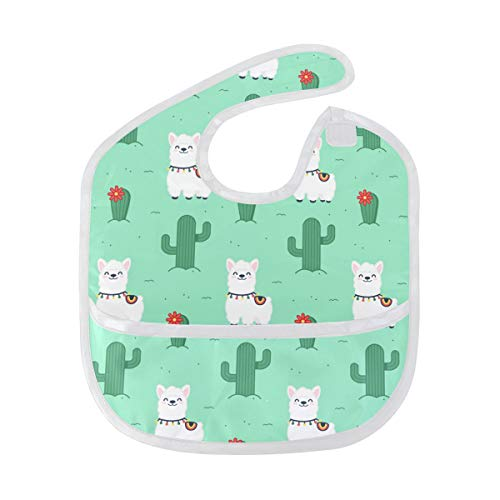 FANTAZIO Cute Smiling Alpaca Pattern Waterproof Baby Bib Infant Washable Stain and Odor Resistant, Suit for 6-24 Months from FANTAZIO