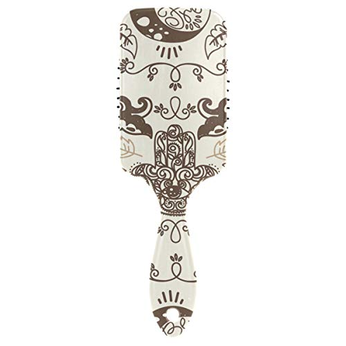 FANTAZIO Doodle Moons And Hamsa Symbol Hair Brush for Women Men Kids Damaged Curly Wavy Frizzy Fine Hair Massage Brain Acupoints from FANTAZIO