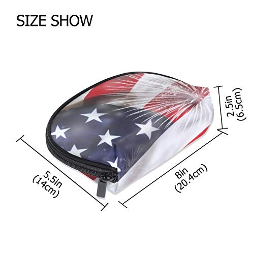 FANTAZIO make up zipper pouch America Flag With Firework Independence Day Handbag Organizer from FANTAZIO