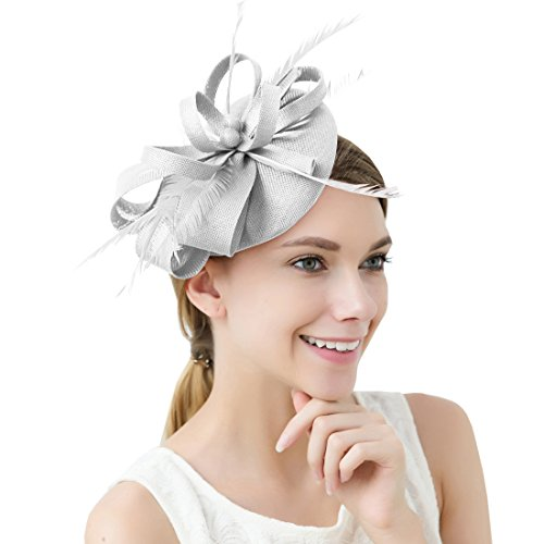 Women Elegant Fascinator Hat Bridal Feather Hair Clip Accessories Cocktail Royal Ascot (Grey) from FAYBOX BRIDAL