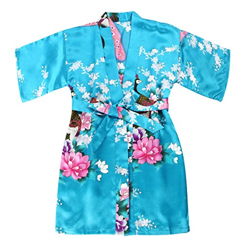 Girls' Satin Peacock and Blossoms Kimono Robe for Spa Wedding Birthday from FAYBOX BRIDAL