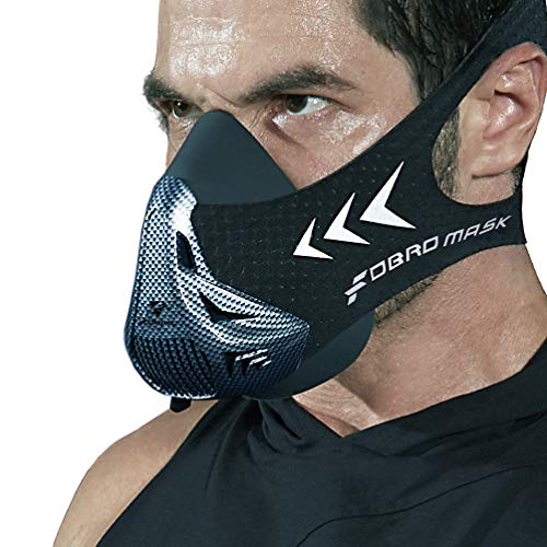 FDBRO Workout Fitness Mask, Workout Training Mask, Running Mask, Breathing Mask, Resistance Mask,Men Women Adult High Altitude Elevation Simulation Trainer (Black-Carbon fibre, Large) from FDBRO