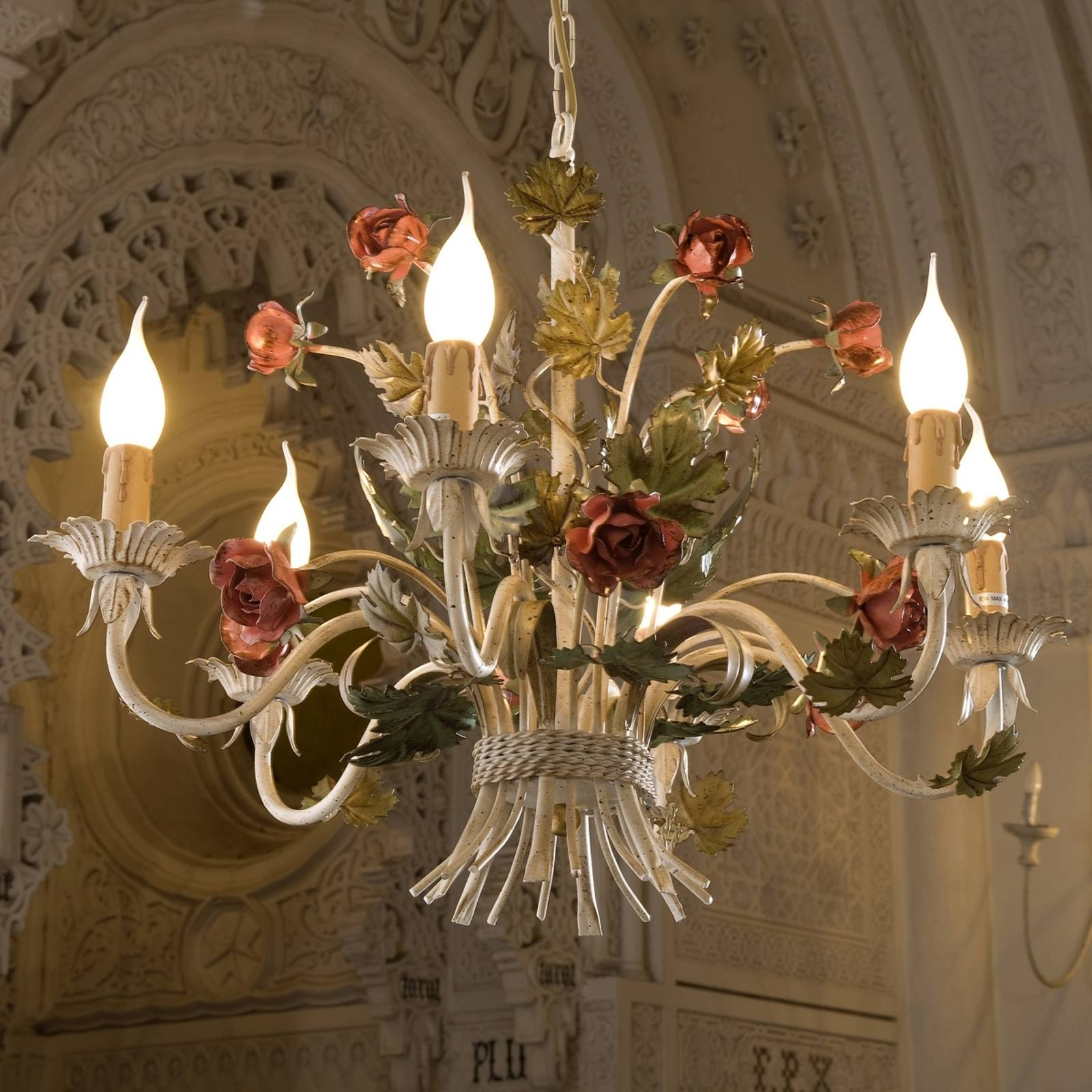 ANCONA noble chandelier with roses from Ferro Luce