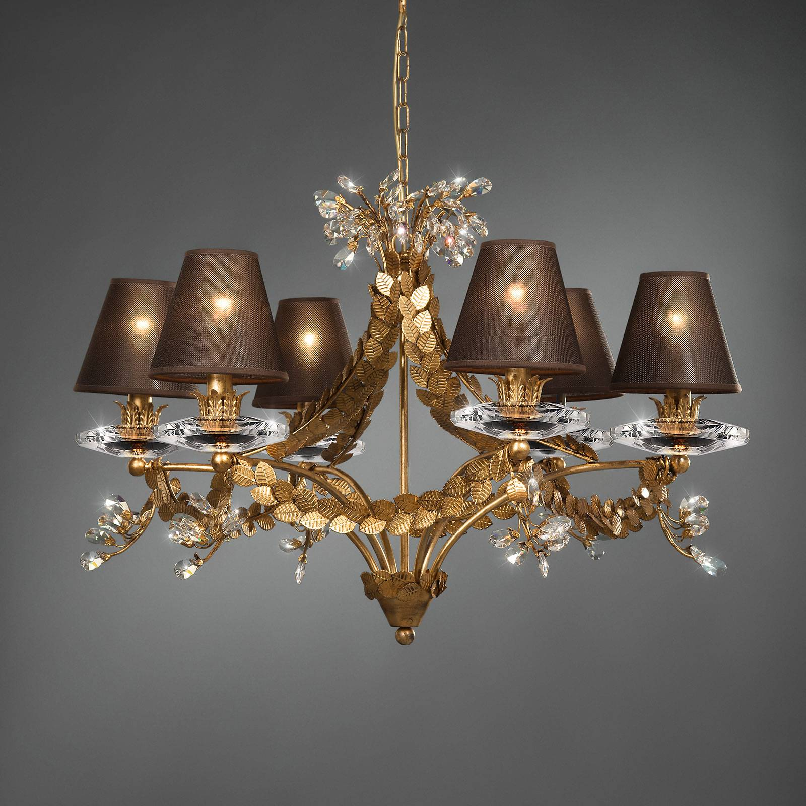 Foliage - noble chandelier with leaf decoration from Ferro Luce