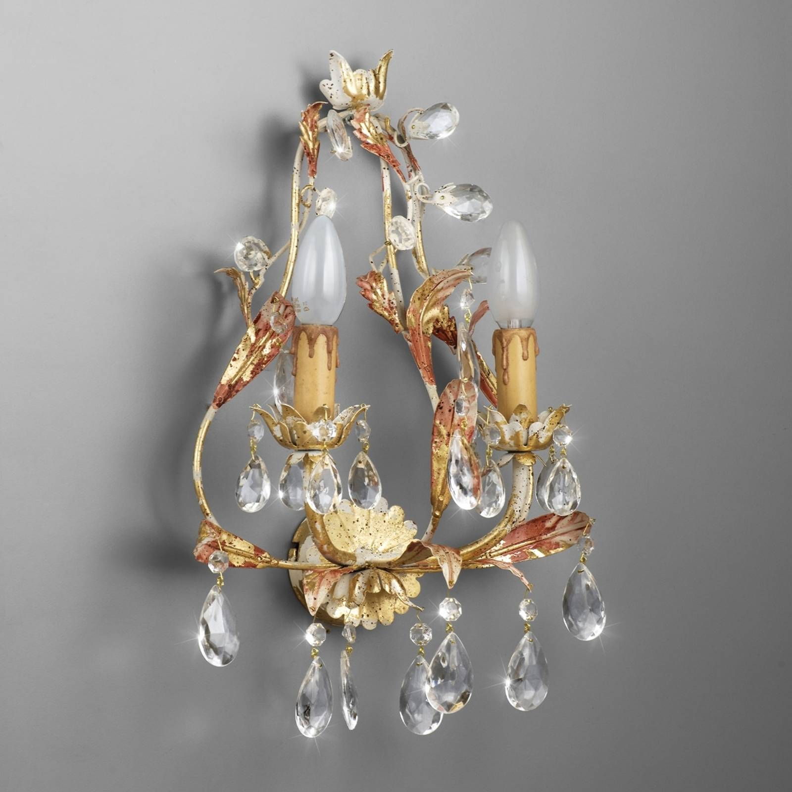 PERUGIA two-bulb wall light lead crystal from Ferro Luce