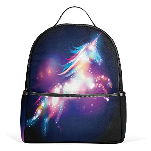 School Backpack, Unicorn Rainbow Print Book Bag Bookbag Travel Large Casual Rucksack Daypack for Teenagers Girls Boys Kids White Black (Color 1) from FFY GO