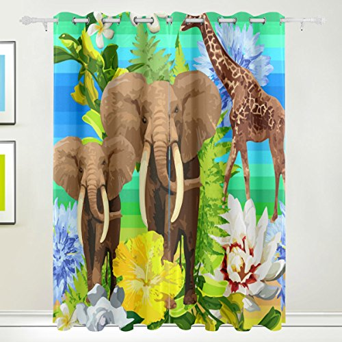 Window Curtain, 2 Panels Luxury Indian Elephant Animal Floral Print Thermal Insulated Thick Blackout Polyester Fabric Home Decor with Eyelet for Bedroom Living Room Bathroom Kitchen 84 x 55 inch from FFY GO
