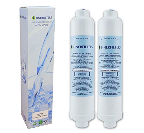 2 x Finerfilters Fridge Water Filters Compatible with Samsung, LG, Daewoo, GE, Bosch etc. Fridge Using Inline Water Filters - Top Quality from Finerfilters