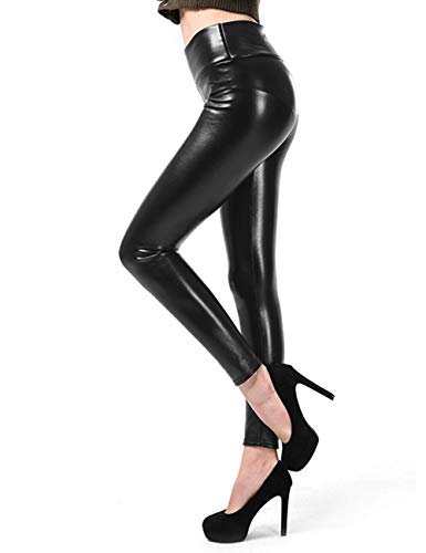 1302124328ba10 Women High Waisted Faux PU Leather Leggings Stretchy Slim Fit Trousers from  FITTOO