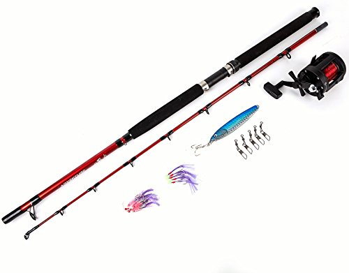 Matt Hayes Adventure - BOAT SEA Complete Fishing Rod And Multiplier Reel Set / Pre Loaded 30lb Red Line / 200g Pirk Lure Swivels / Ready Tied Rigs - 2 Piece Rod (30 to 40lbs Class) [99-8002/7967744] from FLADEN