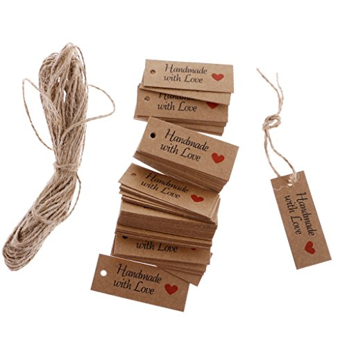 FLAMEER 100 Pack Vintage Kraft Paper HANDMADE WITH LOVE Gift Tags Wedding Favor Tags from FLAMEER