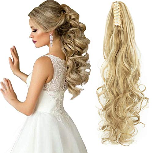 FLORATA Curly Straight Claw Jaw Ponytail Clip In Hair Extensions Wavy Hairpiece, Light Brown, 18 Inch-Curly from FLORATA
