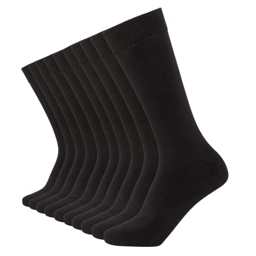 FM London Mens Black Socks (10 Pack) FM® Comfortable, Everyday, Breathable Calf Socks – Plain, Smart Design with Elastic Cuff,Size:6-11 UK (39-45 EU) from FM London
