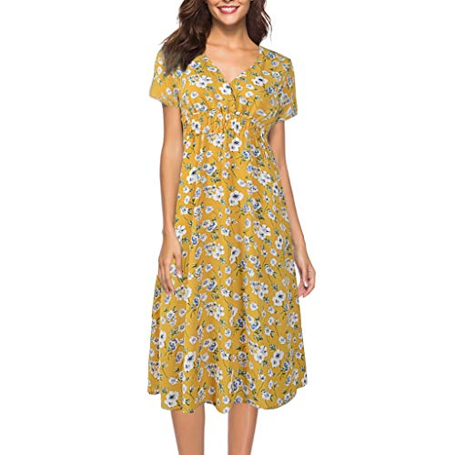 FNKDOR Summer Fashion Womens V Neck Holiday Birthday Family Party Formal Suit Floral Print Dress Ladies Summer Beach Party Dress Shirtdress Pleated Skirt(Yellow ,UK-14/CN-L) from FNKDOR