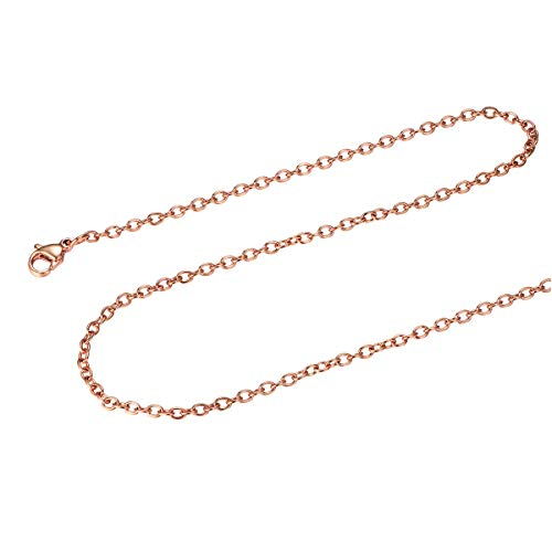 FOCALOOK Rose Gold Plated Rolo Chain Necklace for Men Women Chains 2MM 30Inch Minimalist Tiny Small 316L Stainless Steel Chain from FOCALOOK