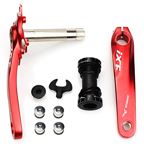 Bicycle Crank Set BCD 104 FOMTOR Road Mountain Bike Crankset with Bottom Bracket and Chainring bolts 170mm Crank Arm (Red) from FOMTOR