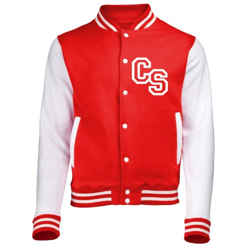 Front Initial Step Personalisation Varsity Jacket (Medium - Fire Red/White) New Premium Unisex American Style Letterman College Baseball Custom Top Mens Womens Ladies Gift Present Quality AWD Soul from Fonfella