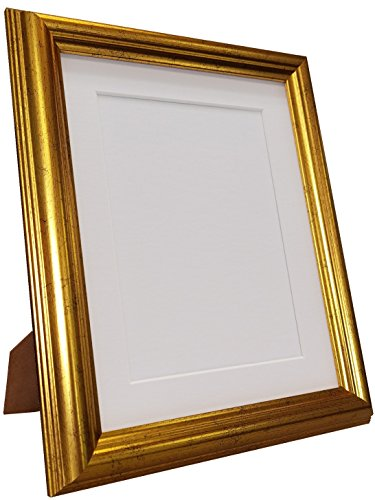 FRAMES BY POST 48 Gold Picture Photo Frame with White Mount 12 x 10 Image Size 10 x 8 from FRAMES BY POST