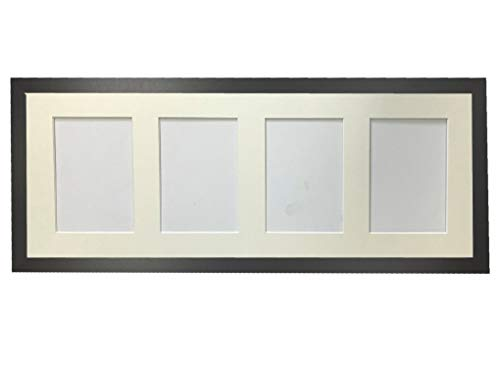 FRAMES BY POST H7 Black Picture Photo Frame with Ivory 7 x 5 Inch Four Aperture Long Mount from FRAMES BY POST