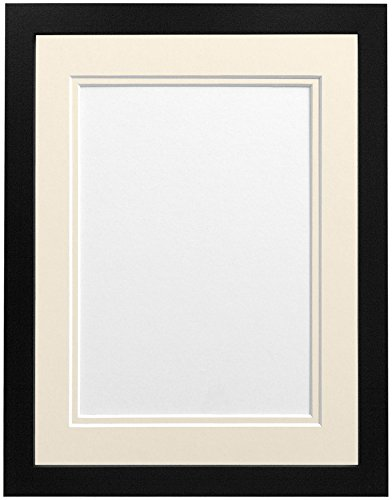"FRAMES BY POST H7 Black Picture Photo Frame With Ivory Double Mount 14""x11"" for Pic Size 10""x8"" from FRAMES BY POST"