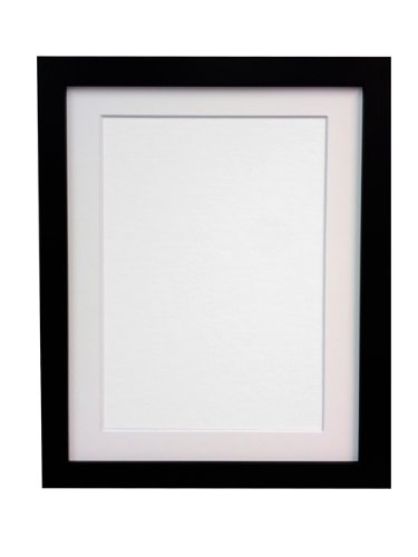 FRAMES BY POST 25 mm Wide H7 Black Picture Photo Frame with White Mount 9 x 7 Picture Size 7 x 5 from FRAMES BY POST