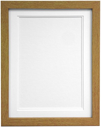"FRAMES BY POST H7 Oak Picture Photo Frame With White Double Mount 12""x10"" for Pic Size 9""x7"" from FRAMES BY POST"